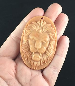 Carved Male Lion Big Cat in Red Malachite Stone Pendant Jewelry #lU9kpJ8kWqk