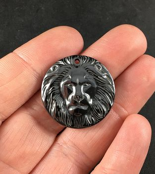 Carved Male Lion Face Magnetic Hematite Stone Pendant #pafSBJhguT4