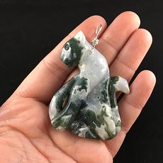 Carved Moss Agate Stone Pendant Jewelry of a Sitting Leopard Big Cat #IIB98rh6MSY