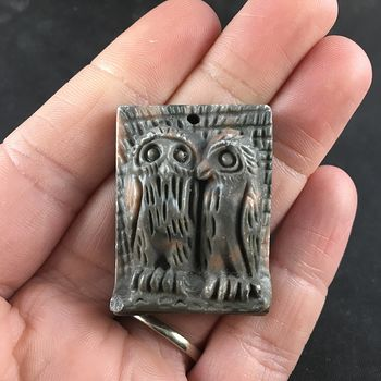 Carved Owl Pair Ribbon Jasper Stone Pendant Jewelry #jMumBMicTCE
