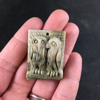 Carved Owl Pair Ribbon Jasper Stone Pendant with Wire Bail #321VM4ykkrw