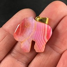 Carved Pink Striped Elephant Shaped Druzy Agate Stone Pendant #gemaTVlgIJI