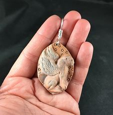 Carved Red Jasper Sitting Winged Big Cat Pendant #ANaFrwsEumQ