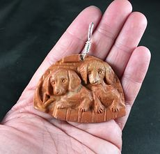 Carved Red Ribbon Jasper Puppy Dogs in a Basket Pendant #hUbrnEJz0JU
