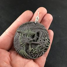 Carved Ribbon Jasper Phoenix Bird Breathing Fire Pendant #boppQR1Hupg