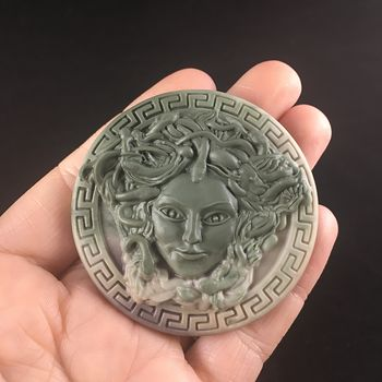 Carved Round Medusa Greek Mythology Gorgon Ribbon Jasper Stone Jewelry Pendant #LK7HjWWTZy4