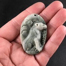 Carved Sitting Coyote or Wolf Ribbon Jasper Stone Pendant with Wire Bail #xUDqNQB877k