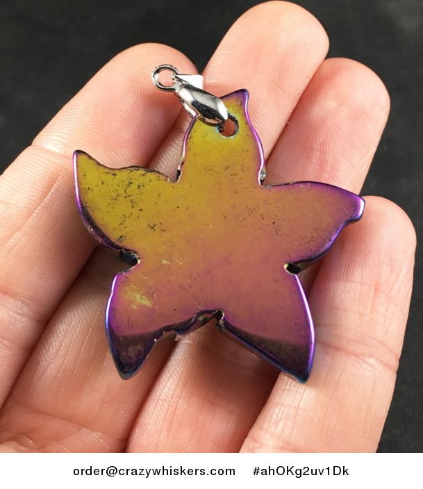 Carved Star Shaped Green and Purple Stone Pendant Necklace - #ahOKg2uv1Dk-2