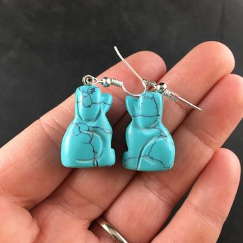 Carved Synthetic Turquoise Blue Sitting Dog Earrings #jWzbs3H8Sa4