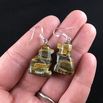 Carved Tigers Eye Stone Sitting Dog Earrings #ltDwWkHoW90