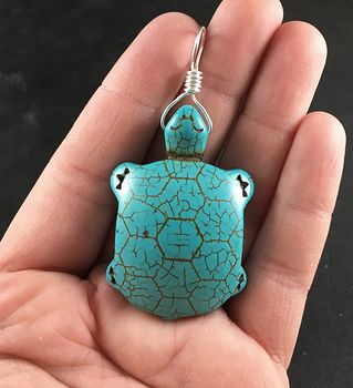 Carved Turtle Tortoise Blue Turquoise Stone Pendant Necklace #50LVFppl8pc