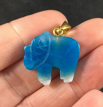 Carved White and Blue Elephant Shaped Druzy Agate Stone Pendant Necklace #mPNIUbBO8os