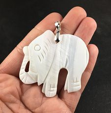 Carved White Shell Elephant Pendant Necklace #sx7YUwcXxhQ