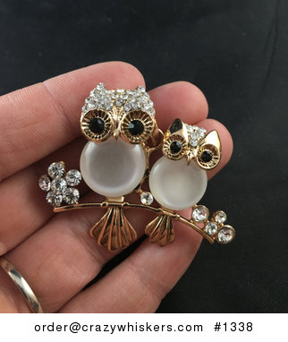 Cat Eye Gold Tone and Rhinestone Two Owls Pendant #BOC8i9bCNIE