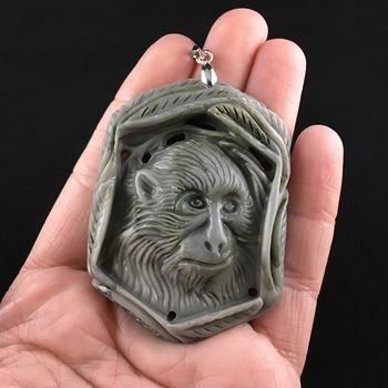 Chimpanzee Monkey Carved Ribbon Jasper Stone Pendant Jewelry #qz2qr4aFnPw