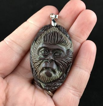 Chimpanzee Monkey Carved Ribbon Jasper Stone Pendant Jewelry #xiqd4Snrc90