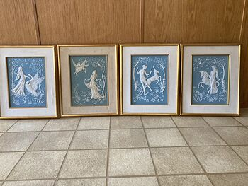 Complete Set of Four George Mcmonigle Franklin Mint Godess Parian Porcelain Incolay Wall Art #96E9wSWICCs