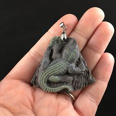 Crocodile or Alligator Carved Ribbon Jasper Stone Pendant Jewelry #1e5ZViUVNE0