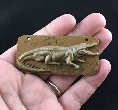 Crocodile or Alligator Carved Ribbon Jasper Stone Pendant Jewelry #av3WZMOXMlA