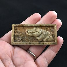 Crocodile or Alligator Carved Ribbon Jasper Stone Pendant Jewelry #t499wmmWQQI