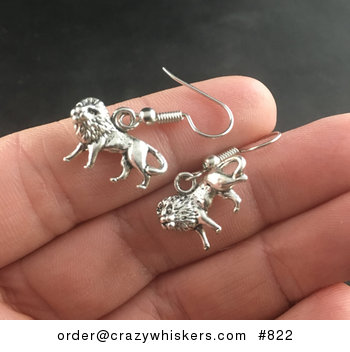 Curved Male Lion Earrings in Tibetan Silver #kllfVHey9gs