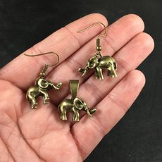 Cute 3d Vintage Bronze Toned Elephant Pendant Necklace and Earrings Jewelry Set #H4gbAI5uZ50