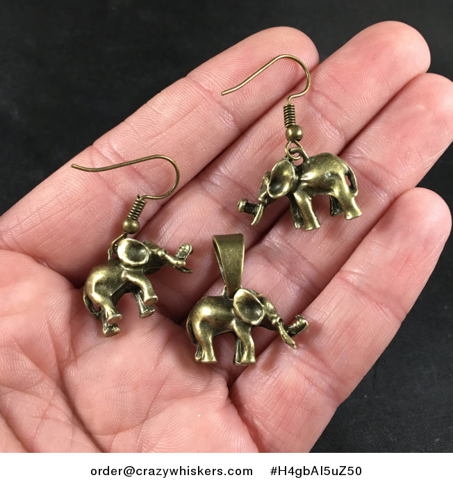 Cute 3d Vintage Bronze Toned Elephant Pendant Necklace and Earrings Jewelry Set - #H4gbAI5uZ50-2