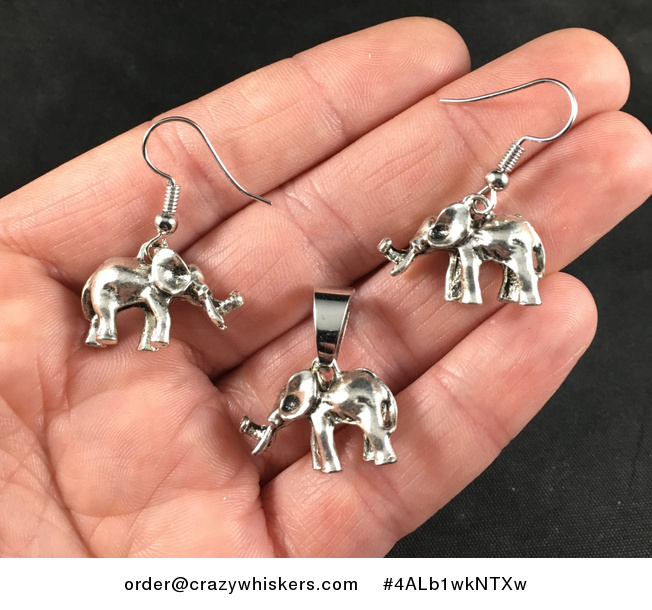 Cute 3d Vintage Silver Toned Elephant Pendant Necklace and Earrings Jewelry Set - #4ALb1wkNTXw-1