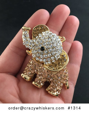 Cute Articulated Elephant with Champagne and White Crystal Rhinestones Pendant #eFtMSRzCcBM