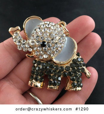 Cute Articulated Elephant with Smokey Blackgray and White Crystal Rhinestones Pendant #BtgMDX2j3Vw