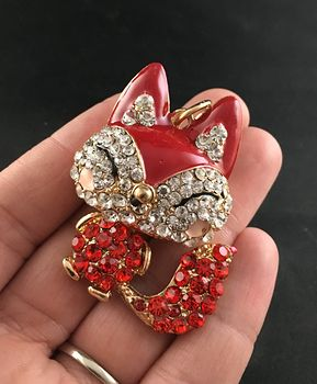 Cute Articulated Red and White Crystal Rhinestone Happy Fox Pendant #OSDvinrW9nE