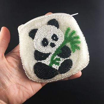 Cute Beaded Panda Coin Purse #WydNqsiTi5s