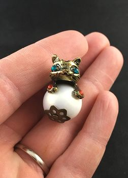 Cute Colorful Rhinestone and Vintage Bronze Cone Kitty Cat on a False Pearl Pendant #kVL66UOTxq4
