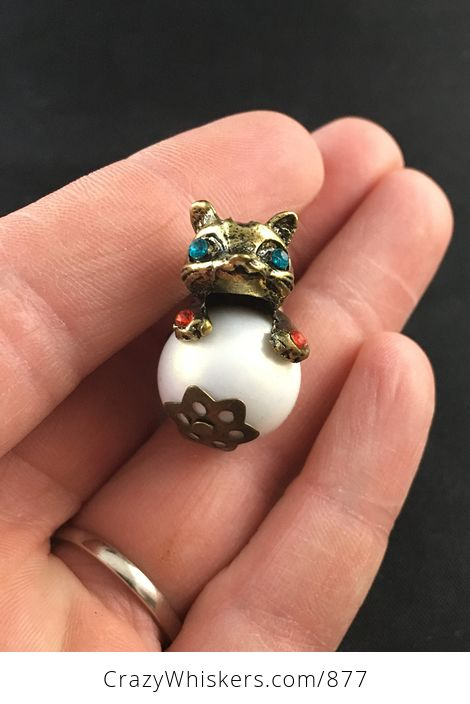 Cute Colorful Rhinestone and Vintage Bronze Cone Kitty Cat on a False Pearl Pendant - #kVL66UOTxq4-1