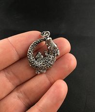 Cute Curled up Rhinestone Alligator Crocodile Pendant #xjO3McKzMkE