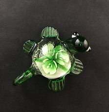 Cute Glass Turtle Pendant in Green with Flowers in the Shell #xvxSOm4h33M