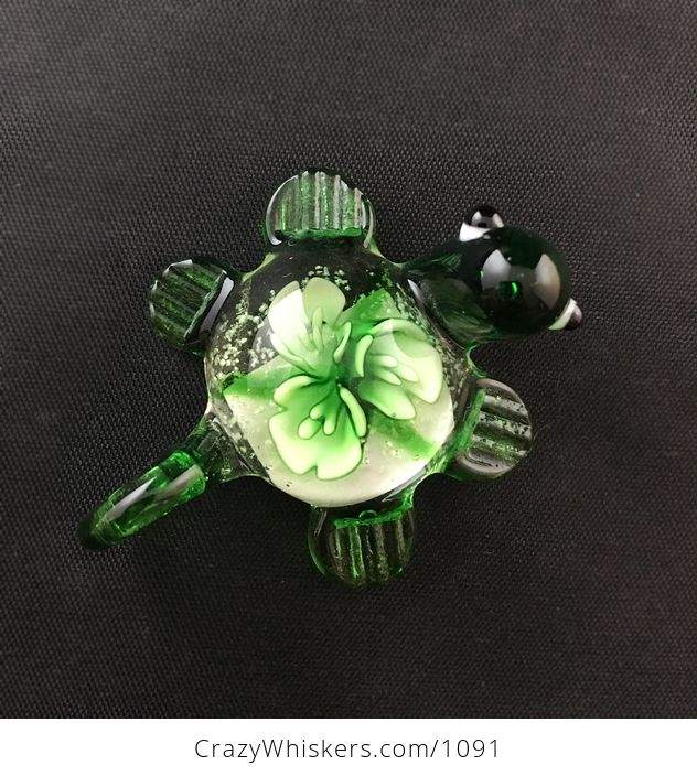 Cute Glass Turtle Pendant in Green with Flowers in the Shell - #xvxSOm4h33M-1