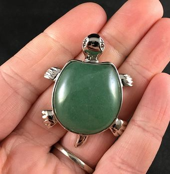 Cute Green Aventurine Stone and Silver Tone Turtle Tortoise Pendant Necklace #QP3OoQO2xkE