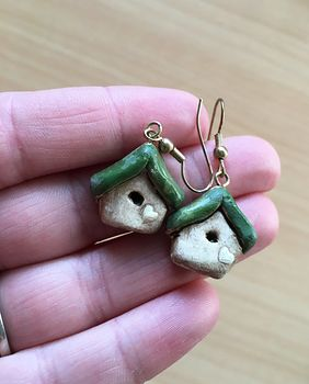 Cute Hand Made Bird House Earrings #GXzmNxjKpZA