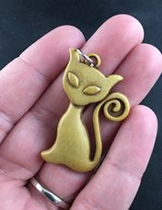 Cute Kitty Cat with a Curly Tail Pendant in Faux Wood Finish #rHX1EfcFwmU