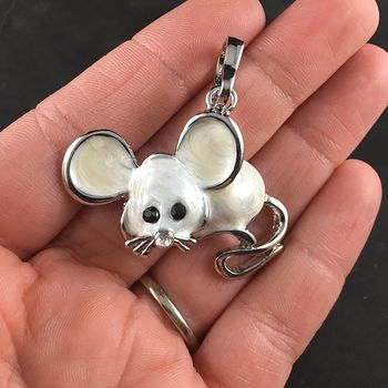 Cute Metallic Pearl White and Silver Mouse Pendant Jewelry #L5u4uUzB57A