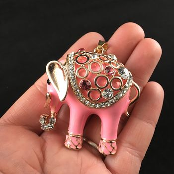 Cute Pink Elephant with Crystal Rhinestones Pendant Jewelry #OG95ygoAeXQ