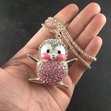 Cute Rhinestone and Enamel Pink Penguin Pendant Necklace Jewelry #yl3gKiej444