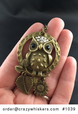 Cute Rhinestone and Textured Owl with a Moon Ring and Branch Hanging Leaf and Sunflower in Vintage Bronze Tone #jWhYB1QuOeo