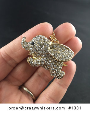 Cute Running or Flying Rhinestone and Gold Tone Elephant Pendant #M20cx9Laekc