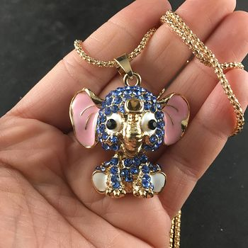 Cute Sitting Elephant with Crystal Rhinestones Pendant Necklace Jewelry #wz9Y8iWfNYs