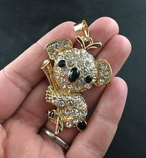 Cute Textured Gold Tone Metal Koala on a Branch with Black Stones and White Crystals #BoXoETCunW4