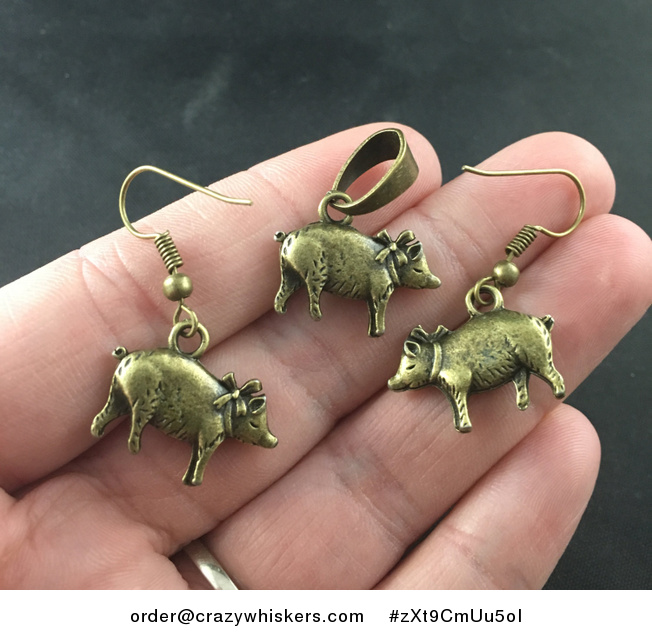 Cute Vintage Bronze Tone Piggy Necklace and Earrings Set - #zXt9CmUu5oI-1
