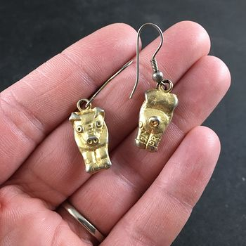 Cute Vintage Gold Toned Metal Double Sided Pig Earrings #W5EWMRBJT88