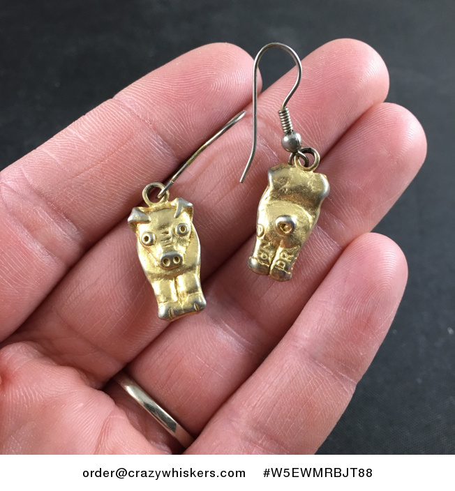 Cute Vintage Gold Toned Metal Double Sided Pig Earrings - #W5EWMRBJT88-1